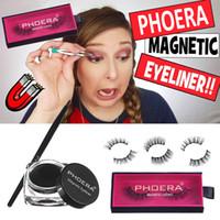 Wholesale makeup brushes b resale online - PHOERA Magnetic Eyelashes Liquid Eyeliner Brushes Kit Fake False Eyelashes Lasting Eye liner Gel D Eye Lashes Makeup Set