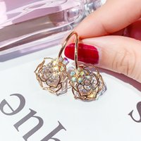 Wholesale red rose coral jewelry resale online - New Arrival Fashion Jewelry Cz Crystal Gold Rose Flower Droplet Pin Drop Earrings For Women Korean Oorbellen Brincos O3e750