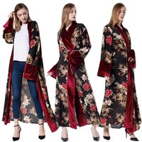 абая мусульманский арабский оптовых-Plus Size Spring Velvet Abaya Kimono Kaftan Dubai Arabic Islam Women Floral Cardigan Muslim Hijab Dress Turkish Islamic Clothing