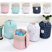 Wholesale ladies flower pouch for sale - Group buy New Lady Cosmetic Bag Barrel Shaped Makeup Bags Drawstring Travel Pouch Toiletry Bags Cactus Flamingo Flower Striped Storage Bags HH7