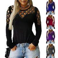 uzun tişört artı boyutu toptan satış-2019 Yeni Kadın Giyim Sonbahar ve Kış Sıcak Kesim Uzun Kollu Tişört Üst Kadınlar Plus Size Kadınlar Tişörtü