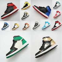 36 yüzük toptan satış-SıCAK tasarımcı ayakkabı 1 OG Basketbol Ayakkabıları Mens Chicago 1 S 6 MID Yeni Aşk UNC Spor Ayakkabı KADıN halkaları Sneakers Bred Toe Eğitmenler boyutu 36-47