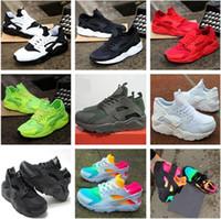 huarache free run al por mayor-2021 New Air Huarache Zapatillas deportivas grandes Niños Niños niñas Hombres y mujeres Negro Blanco zapatos al aire libre Zapatillas Huaraches envío gratis