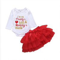 Wholesale children girl summer romper resale online - Baby Girls Outfits Letter Printed Kids Romper Red Skirts Sets Girl Net Skit Suits Children Clothes Summer Kids Clothing YW2538