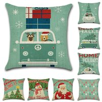 otobüs kapakları toptan satış-Noel Serisi Yastık Kılıfı Sevimli Köpek BUS Keten Yastık Kapakları Kanepe Araba Yastık Kapakları 18x18 Inç Yastık silp