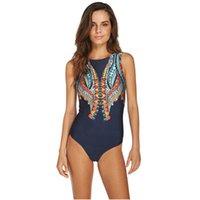 Wholesale swimwear beach wear for ladies online - 2019 Sexy Print Bikinis One Piece Swimsuit Swimwear for Women Swimming Monokini Bodysuits Lady Beach Swim Wear Bathing Suits Maillot de Bain