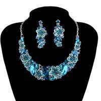 sistemas de la joyería de cristal de la boda al por mayor-Moda nupcial boda joyería azul cristal collar pendientes novias sistemas de la joyería accesorios del partido de las mujeres joyería