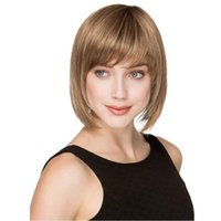 Wholesale real human hair wigs for sale - Group buy Fashion Beauty Women Daily Soft Super Natural Real Human Hair Synthetic Fiber Short Wig Cosplay Party Pub Full Hair