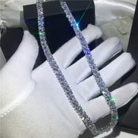 colares de casamento de ouro branco venda por atacado-Tênis de moda colar de Ouro Branco Cheio de Princesa corte de Declaração de Diamante do Partido da festa de casamento Pingentes para as mulheres Jóias 45 cm