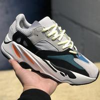 kutular tebeşir toptan satış-(Kutu ile) İndirim Kanye West ayakkabı Retro Dalga Koşucu 700 Gri Nedensel Ayakkabı Erkek Kadın Katı Gri Tebeşir Beyaz Çekirdek Siyah Sneakers