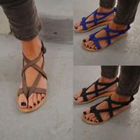 nuevos tacones de verano al por mayor-Diseñador de sandalias para mujer de diapositivas de gran tamaño romana plana de tacón para mujer sandalias nuevos zapatos para mujer de verano 35 a 43 envío gratis caliente moda 3 color