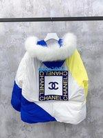 baumwollbomberjacke frauen großhandel-High-End-Frauen Mädchen Aufmaß mit Kapuze puffer Jacke Pelz Patchwork Brief tappte Baumwolle Bomber Mantel Parka Winter Modedesign Oberbekleidung