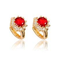 pendiente de oro lleno de rubí al por mayor-Eye-captura pendientes de rubíes Brillant Hermosa joyería 18k Yellow Gold Filled aro del regalo muchachas de las mujeres
