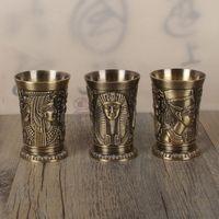 indien buddhismus großhandel-Robuste ägyptische Thema Weingläser Metall Kupferlegierung Kleine Toastschale Langlebig Minibecher Mode Mode
