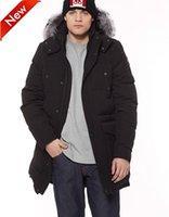 parka longo encapuçado da pele preta venda por atacado-Tesoura preta Long Ontario Parka para Mens com penas de ganso com capuz com Silver Fox Fur Collar