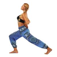 Wholesale comfortable yoga pants for sale - Group buy Printing Belly Dance Bloomers Loose Yoga Wide Leg Pants Mandala Fast Dry Comfortable Breathable Elastic Belt Sport Trousers mlD1