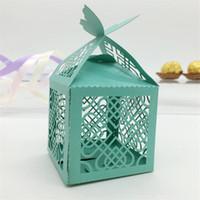 regalos de perlas chinas al por mayor-Exquisito nudo chino Cortar con láser perla Caramelo Chocolate Cajas de regalo Caja de cumpleaños nupcial con cintas Castillo recuerdos de boda