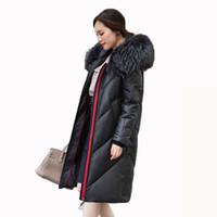 Wholesale vintage dog collar resale online - Korean Raccoon Dog Fur Collar Sheepskin Coat Vintage Down Coats Real Fur Coat Genuine Leather Jacket Women Clothes ZT1335