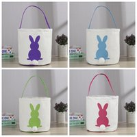 Wholesale INS Burlap Easter Bunny Baskets DIY Rabbit Bags Bunny Storage Bag Jute Rabbit Ears Basket Easter Gift Bag Rabbit Ears Put Easter Eggs