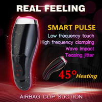 Wholesale men sex toys for sale - Group buy Auto Heating Sucking Male Masturbator Cup Smart Pulse Flashlight Vibrator vagina real pussy Sex Machine Blowjob Sex Toys For Man Y191010