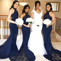 Wholesale halter neck long wedding dresses for sale - Mermaid Bridesmaid Dresses Halter Neck with Lace Maid of Honor Gowns Long Formal Wedding Guest Bridesmaids Dresses