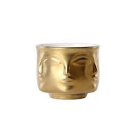 Ceramic Face Floral Vase Modern Multi-Face Cactus Succulent Planter Pot Women Face Condiment Bowl White Black Gold