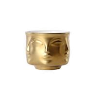 keramische würze großhandel-Keramik Gesicht Blumenvase moderne Multi-Face Kaktus saftigen Pflanzer Topf Frauen Gesicht Gewürz Schüssel weiß schwarz Gold