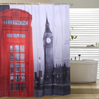 ingrosso tende da doccia a motivi-Londra Big Ben Shower Curtain New Famous City modello punto di riferimento Paris Shower Curtain Bath Fashion Tenda tessuto in poliestere 180cm * 180cm