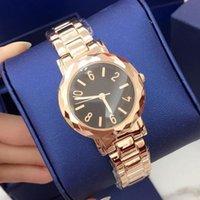 tapas de mesa de rosa al por mayor-Venta al por mayor del acero inoxidable de la moda de las mujeres del reloj de pulsera de oro rosa Señora Marca Tabla diseño especial de primeras marcas de cuarzo envío de la gota