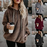 Wholesale maternity overalls for sale - Group buy Mom Sherpa Hoodies Oversize Loose Fleece Sweater Autumn Winter Warm Overall Sweatshirts Hooded Pullover Casual Tops Maternity Outwear M843