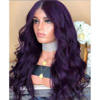 длинный волнистый фиолетовый парик оптовых-70CM Natural Long Wig Purple Party Cosplay Female Long Curly Hair Fashion Synthetic Wig wavy hair 2M81114