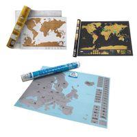 adesivos de parede para escola venda por atacado-Deluxe Black Raspar Cartaz 3 Estilos Jornal Log Mapa Gigante Do Mundo Adesivos de Parede Home Office Escola Decoração