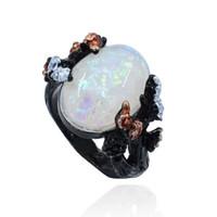 красивое золотое кольцо пальца оптовых-Красивое Дерево Цветочное Кольцо Ювелирные Изделия Черное Золото Красочный Зеленый Фиолетовый Большой Огненный Опал Кольцо Женщины Dropshipping Группы Палец Кольцо размер 6-10