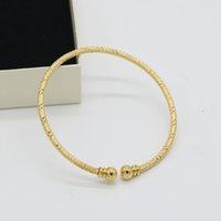 bracelet fin achat en gros de-Bracelet gravé Design mince bracelet manchette jaune or rempli classique Womens Bracelet cadeau Drop Shipping