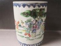 antigas, pintura, escovas venda por atacado-Porcelana antiga chinesa Porcelana azul e branca Pote de esmalte pintado