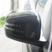 modifiye ayna toptan satış-Karbon Fiber Stil Dikiz Aynası Kapağı Trim 2 adet Mercedes Benz CLA GLA B Sınıfı 2013-18 ABS Araba Styling Modifiye