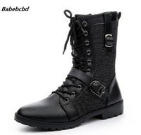 ac34e0bdd504d9 Babebcbd Automne Punk Bottes Hommes De Mode En Cuir PU À Lacets Moto Bottes  Noir Vintage Haut Haut Boucle Chaussures Homme