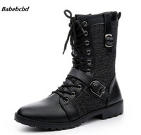 черные кружевные сапоги мужчины оптовых-Babebcbd Autumn Punk Boots Men Fashion PU Leather Lace-up Motorcycle Boots Black Vintage High Top Buckle Shoes Man