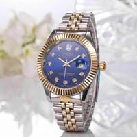 schwarze armbänder der männer großhandel-Relogio Masculino Diamant Herren Rolex Uhren Mode schwarzes Zifferblatt Kalender Gold Armband Faltschließe Master Male Paare
