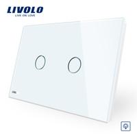 interruptor de luz au touch al por mayor-El panel de cristal de cristal blanco marfil de Livolo, interruptor de pared estándar de AU / US, interruptor de luz de la pared del hogar de Dimmer Touch