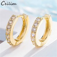 Wholesale cuffed earrings resale online - New Trendy Cubic Zirconia Crystal Small Round Ear Cuff Earrings for Women Gold and Silver Plated Rhinestone Clip Earring Without Piercing F