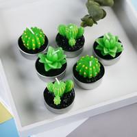 ingrosso mini piante artificiali decorative-Candele decorative per candele da tè a candela di cactus di cactus per la festa di Natale Decorazione di nozze per la decorazione di compleanno Candele per mini candele artificiali