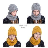 Wholesale cycling warming sets resale online - Fashion Beanie Scarf Set hats Wool Muffler Knitted Caps Fashion Girls women Winter Warm Hat Bonnet