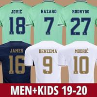 26 jersey venda por atacado-Camisas De Futebol Real Madrid 19 20 HAZARD JOVIC MILITAO camisa de futebol 2019 2020 VINICIUS JR ASENSIO camisa de futebol para crianças MARCELO ISCO kids camisa de futebol