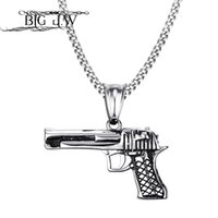 Wholesale gun shape pendant resale online - BIG J W Tough Man Design Pistol Gun Shape Pendant Necklace Stainless Steel Necklace Pendant for Men Vintage Punk Rock Jewelry