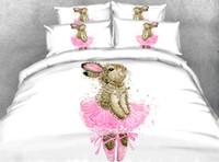 tam boy pamuklu yatak takımları toptan satış-Karikatür Dans Tavşan Nevresim Setleri, Bebek Kız Sevimli Pamuk Yumuşak Dört Mevsim Yatak Seti ile Yastık Shams İkiz Tam Boy Yorgan Kapağı Set