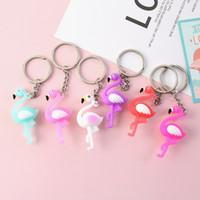 Wholesale cars fashion for sale - 3D Cartoon Flamingo Chaveiro Creative Cute Ins Animal Car Keyring Fashion Bag Keychain Small Pendant Party Gift TTA948