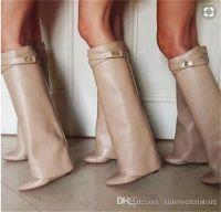 ingrosso doppio piede-Moda inverno scarpe a punta doppia cuneo cavaliere donne scarpe in pelle ginocchio alto blocco di metallo moto bootie