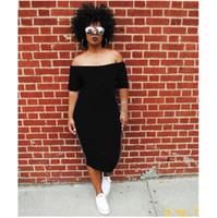 robes d'été pour femmes achat en gros de-Été Femmes Slash Neck Robes sexy Paillettes Lady lettres imprimées Vêtements Club de rue desserrées Robes