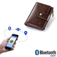 Wholesale smart card standard resale online - Men s Wallet Upscale Business RFID Genuine Leather Bluetooth Smart Short Hasp Prevent From Losing Money Bag Small Purse Best Gift